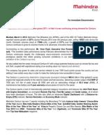 Press Release - M2W February 2014 - Sales Nos - RKS