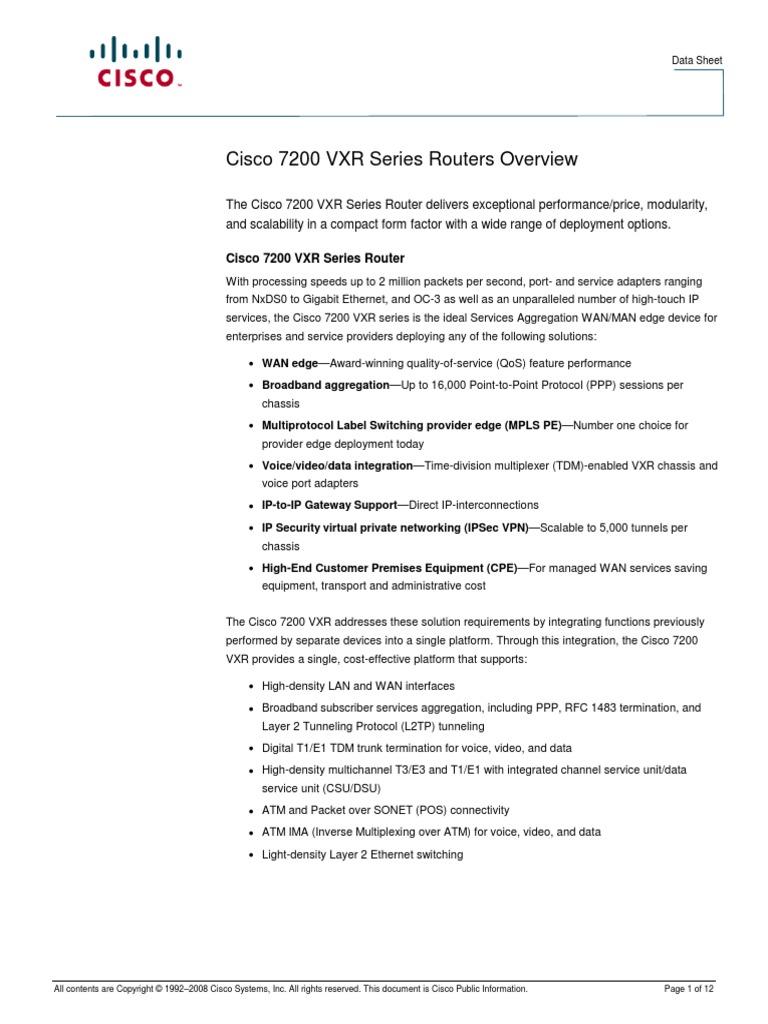 CISCO 7200 VXR Series Router | Internet Protocols | Virtual Private