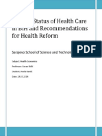 Current Status of Health Care in BiH and Recommendations for Health Reform