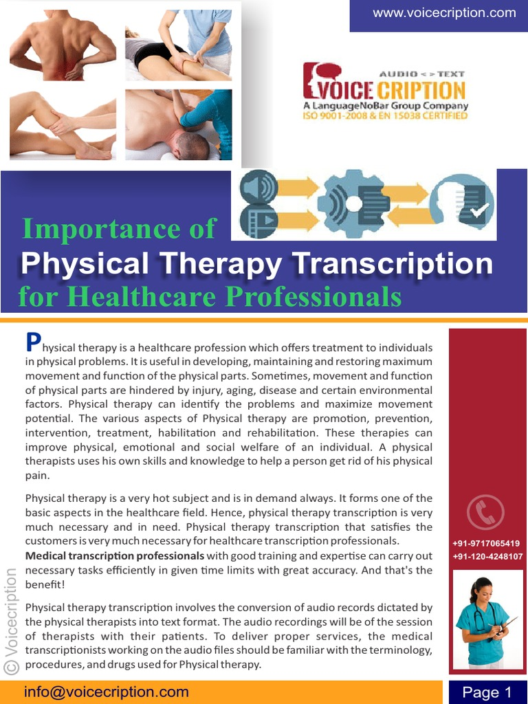 Importance of physical therapy - Importance Of Physical Therapy Transcription For Healthcare Professionals Physical Therapy Health Professional