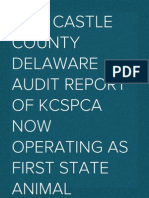 New Castle County Delaware Audit Report of KCSPCA now operating as First State Animal Center and SPCA and Delaware Animal Care and Control