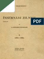 Titu Maiorescu - Însemnări zilnice. Volumul 2