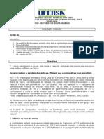 Avaliação I Unidade Sociologia CT 2014.1