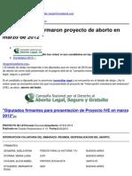 Argentinos Alerta - Diputados Que Firmaron Proyecto de Aborto en Marzo de 2012 - 2013-08-08 (1)