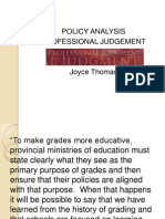 joyce - policy analysis professional judgement
