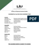 BK SHP PA Academic Calendar 2013