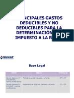Principales Gastos Deducibles y No Deducibles Para La Detrminacion Del Impuesto a La Renta