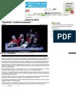 Presentarán en Guadalajara La Obra Macbeth. Ciudad Insomnio