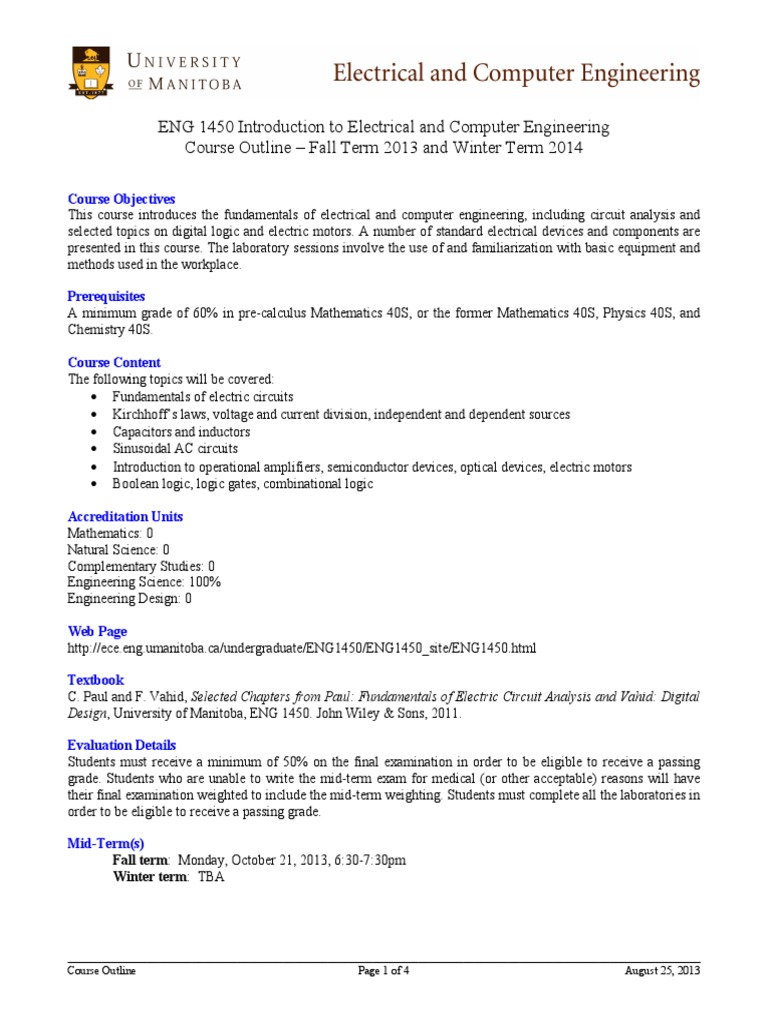 ENG 1450 Outline   Electrical Network   Test (Assessment)