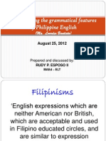 Investigating the Grammatical Features of Philippine English