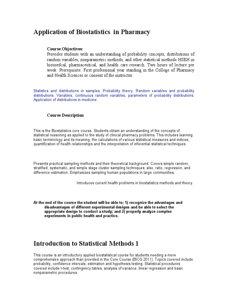 Application of Biostatistics in Pharmacy | Statistics | Regression