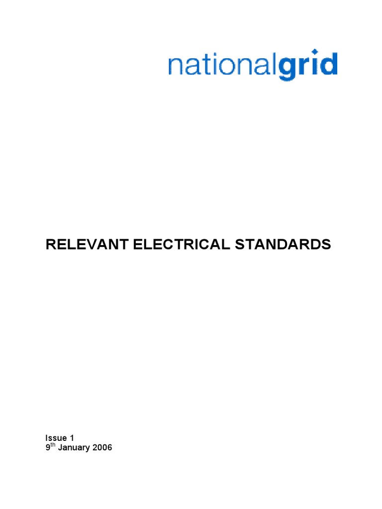 Relevant Electrical Standards Issue 1 Substation National Grid Occupational Safety And Health