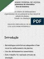 Delineamentos experimentais na seleção de plantas.ppt