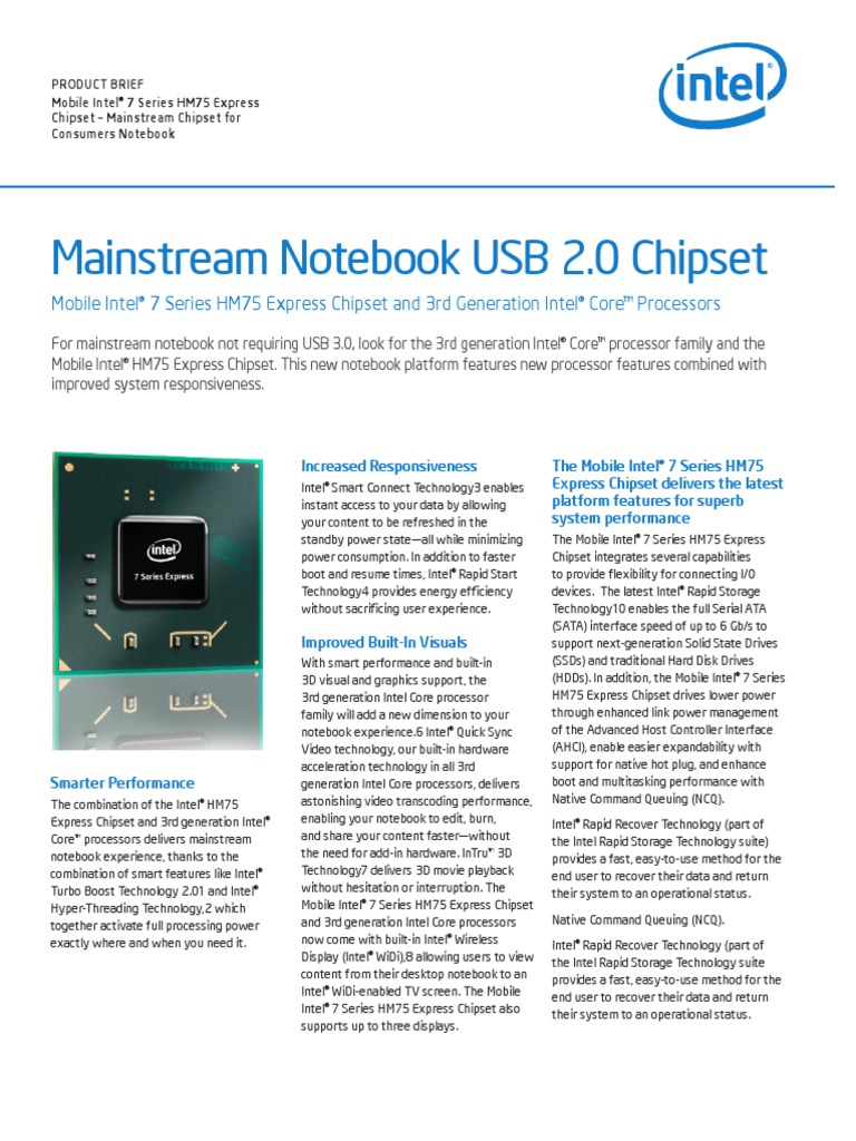 Hm75 Mobile Chipset Brief | Usb | Solid State Drive