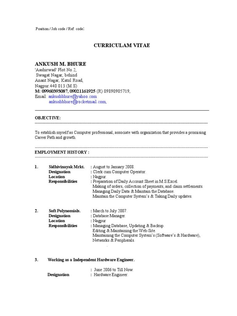 Ankush Bhure Professional Resume 2009 Databases Computer Security