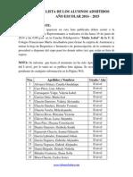 Coframa Lista Alumnos Admitidos 2014