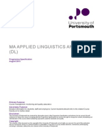 MA TESOL DL Portsmouth Programme Specification