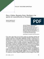 Bernstein, Rorty, McIntyre y Las Aporias de La Filosofia en Norteamerica (Palti)