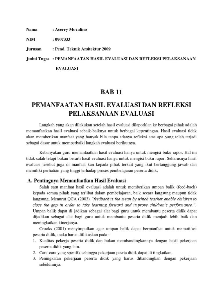 Pemanfaatan Hasil Evaluasi Dan Refleksi Pelaksanaan Evaluasi