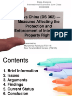 US vs China DS362— Measures Affecting the Protection and Enforcement of Intellectual Property Rights