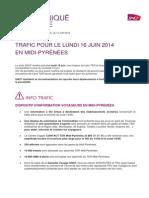 SNCF Trafic Journée Lundi 16 Juin 2014 OK