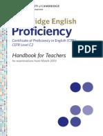 Cambridge English Proficiency CPE Handbook 2013
