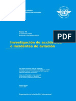 OACI Anexo 13 - Investigacion de Accidentes e Incidentes de Aviacion