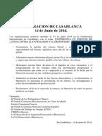 """DECLARACIÓN DE CASABLANCA """"14 DE JUNIO DE 2014"""""""