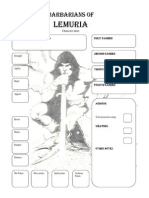 Barbarians of Lemuria RPG Character Sheet