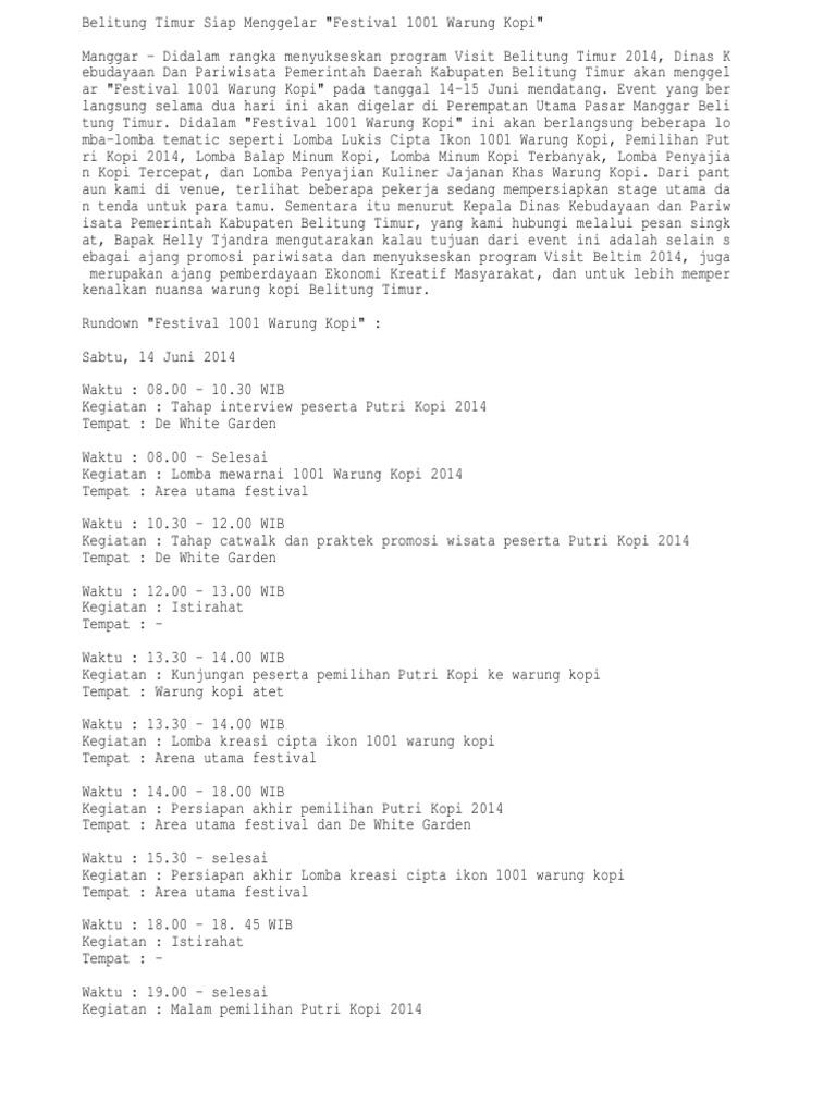 Belitung Timur Siap Menggelar Festival 1001 Warung Kopi
