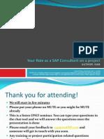 SAP Consultant Role Agenda