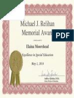 special education teaching award