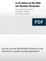 Distribution of Letters on the Web as a Random Number Generator