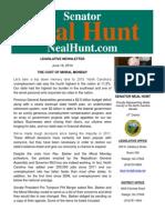 June 16 Newsletter from Senator Neal Hunt