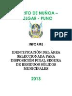 Informe de Identificación Del Área Seleccionada Para Disposición Final Segura de RR.ss.