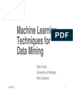 Machine Learning Techniques for Data Mining