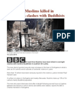 Sri Lanka Muslims Killed in Aluthgama Clashes With Buddhists
