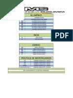 Tabela de Acabamentos