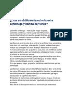 Diferencia Entre Bomba Centrifuga y Bomba Periferica