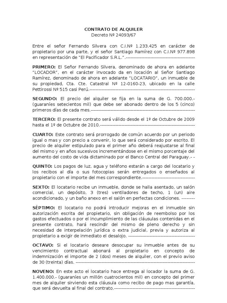 Modelo De Contrato De Alquiler De Casa En Word Paraguay - LIEBZIG