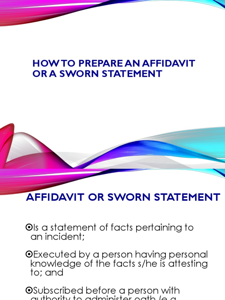 How To Prepare A Sworn Statement | Affidavit | Witness