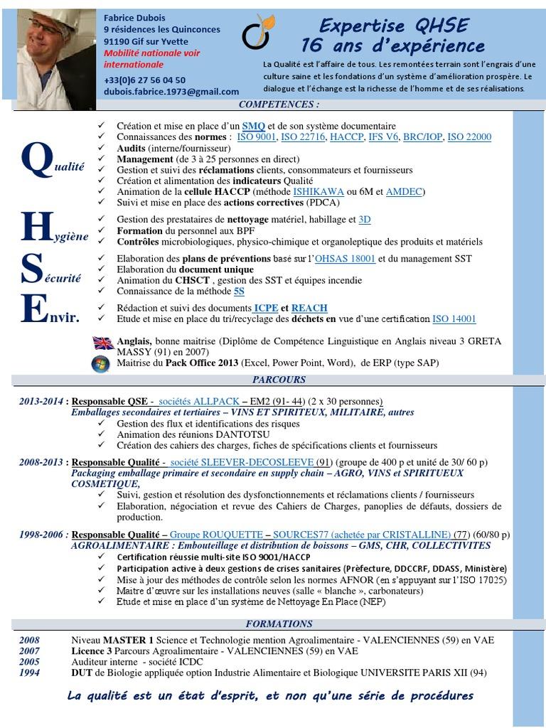 CV QHSE   Management de la qualité   Qualité