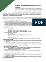 preschooldaycareinformationsheet