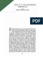 Alfonso x y Las Leyendas Heroicas Menéndez Pidal
