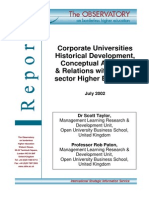 Corporate Universities_Historical Development, Conceptual Analysis & Relations With Public-Sector Higher Education_July 2002