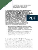El Modelo Para Mejorar La Calidad de Vida de Los Bolivianos Es El de Competitividad