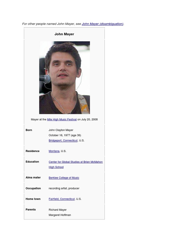 John Mayer | Music Industry | Entertainment Award