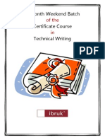 Ibruk Consulting - Three-Month Part-time Certificate Course in Technical Writing