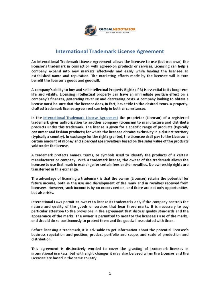 International Trademark License Agreement License Trademark