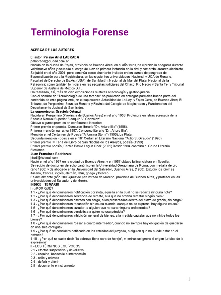 Terminología Forense de Labrada-Ortenzi-Radrizzani